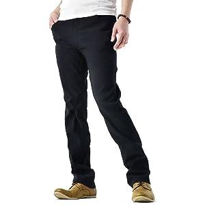 (フラグオンクルー) FLAG ON CREW 超ストレッチ パンツ メンズ テーパードパンツ / B4O / M レギュラー・ブラック
