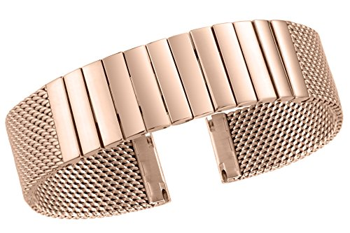 24mm Luxury Waterproof Mesh Link Watch Bands Rose Gold Tone 316L Stainless Steel Replacement Straight End
