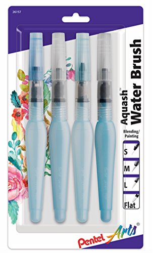 Pentel Arts Aquash Water Brush Assorted Tips, 4 Pack Carded (FRHBP4M)