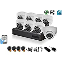 HDView 9CH Tribrid: 8 Channel DVR + 1 Channel NVR, 2.4MP 1080P HD Megapixel Security Camera Surge-Protection HD-AHD DVR Kit, with 1TB HDD, 8 x 2.4MP 1080P infrared cameras Package System