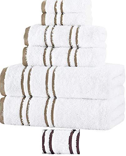 Luxury 100 Percent Turkish Cotton 6-Piece Towel Set: 2 Bath Towels, 2 Hand Towels, 2 Washcloths, Imported, Machine Washable, Soft & Absorbent (White - Beige Stripes, 6 Piece Set)