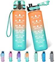 Polygon 32oz Motivational Water Bottle with Time Marker & Removable Strainer to Remind You Drink More Wate