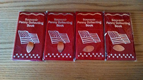 4 Red Elongated Penny Souvenir Collector Books With 4 FREE Pressed Pennies!