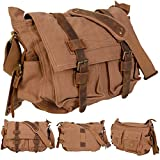 GHP Men's Vintage Tan Canvas Leather School Military Messenger Shoulder Bag