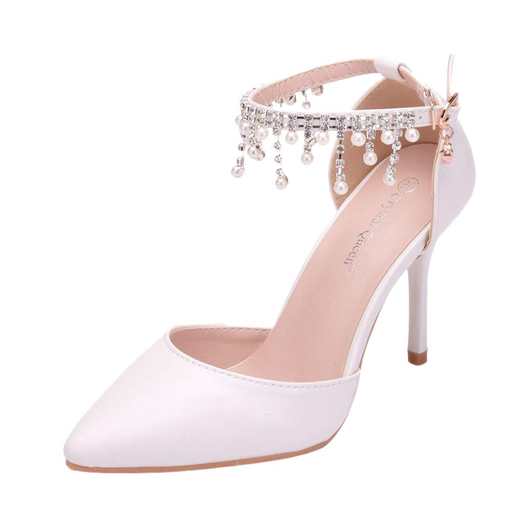 Orangeskycn Women Sandals Ladies Fashion Crystal Tassel Buckle Strap Pointed Toe Thin Heel Sandals Party Wedding Shoes White