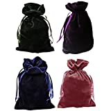 Tarot Bags Luxurious Velvet Bundle of 4: Hunter Green Navy Blue Rose and Purple 6' X 9' Each