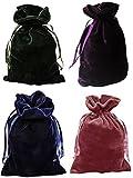 Tarot Bags Luxurious Velvet Bundle of 4: Hunter Green Navy Blue Rose and Purple 6' X 9' Each