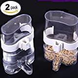 #3: Bird Waterer Feeders,2 PACK Bird Feed Water Dispenser, Clear Pet Feeder and Water Cup Automatic Feeding White and Green Color Random