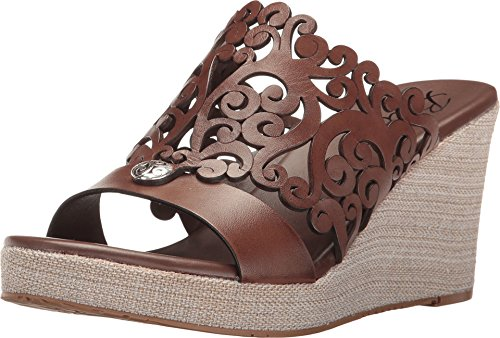 Brighton Diana Caramel Laser Cut Leather Platform Wedge Sandal (8.5M)