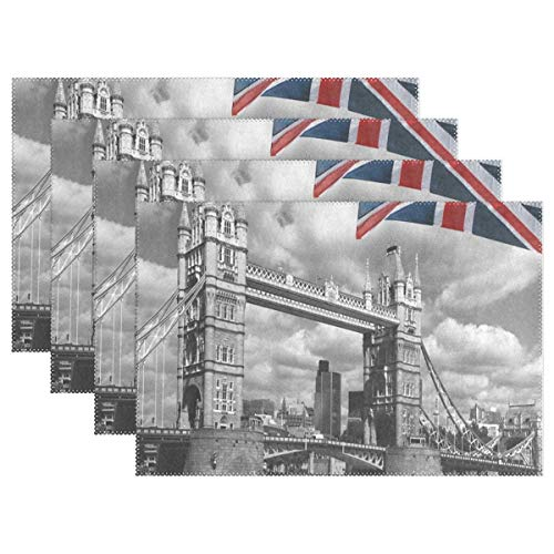 IDO Heat Resistant Placemats for Kitchen Table Mats for Dinning Room,Retro London Tower Bridge UK Flag Union Jack Washable Insulation Non Slip Placemat 12x18 inch 1pcs ()