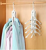 Magic Plastic Clothes Hanger - Yoobaby Space Saving Foldable Collapsible Closet Hanger Storage Organizer Non-slip with 360 Degree Swivel Hook - Drying Clothes Direct Storage in Closet, White