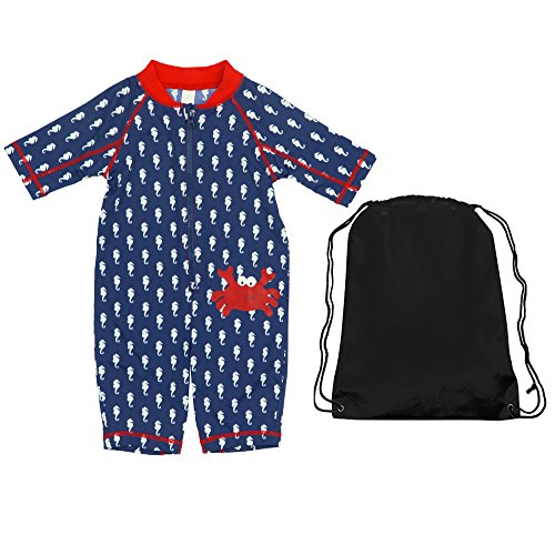 Kiko & Max Navy Blue Baby Boys One Piece Coverall Sun and Swim Sunsuit With Bag 24M