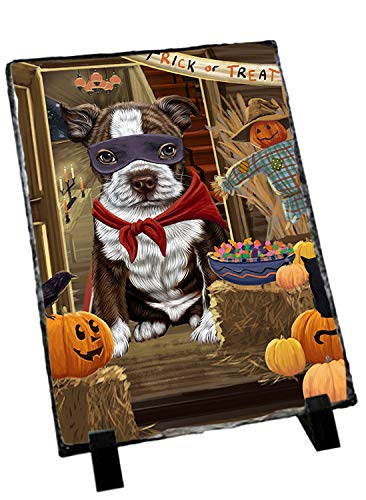 Doggie of the Day Enter at Own Risk Trick or Treat Halloween Boston Terrier Dog Photo Slate SLT53035