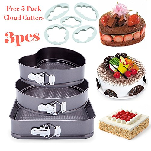 "3pcs Premium Nonstick Springform Cake Pan Leakproof Cheesecake Bakeware Pan 9"" Heart 10"" Round 10.5"" Square Shaped Cake Mold for Kitchen Cooking, Carbon Coated Steel Removable Bottom (Heart Pan Springform)"