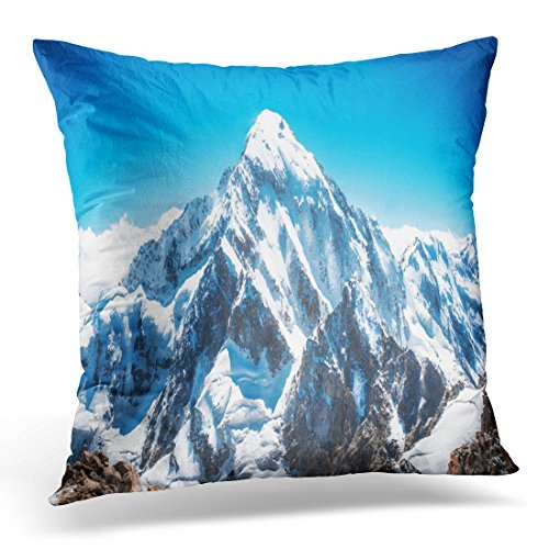 UPOOS Throw Pillow Cover Blue Mount Mountain Peak Everest National Park Nepal Range Decorative Pillow Case Home Decor Square 18x18 Inches Pillowcase