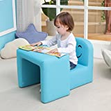 Multifunctional Children's Armchair, Emall Life Kids Chair and Table Set/Stool with Funny Smile Face for Boys and Girls (Blue)