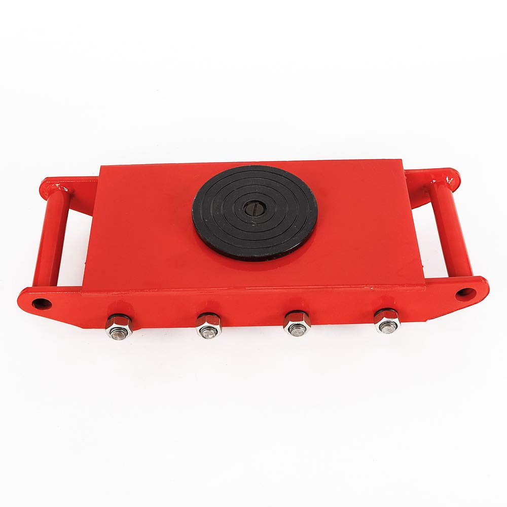 Industrial Machinery Mover, Machinery Mover Roller Dolly Skate with 360 Degree Rotation Cap (Red, 12T/26400)