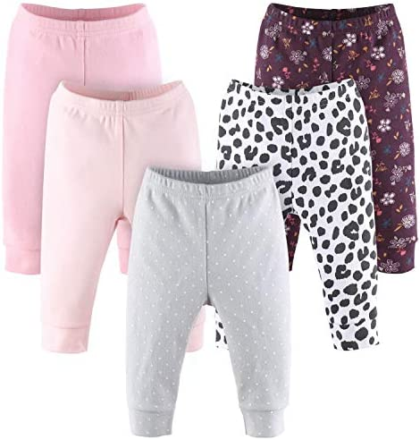 The Peanutshell Floral and Animal Print Baby Pants Set | 5 Pack | Newborn to 24 Month Sizes