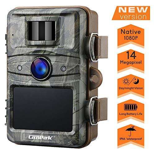 "Campark T70 Trail Game Camera No Glow Night Vision 14MP 1080P Outdoor Hunting Cam Security Motion Activated Camera with 2.4"" LCD and IP66 Waterproof Battery Powered"