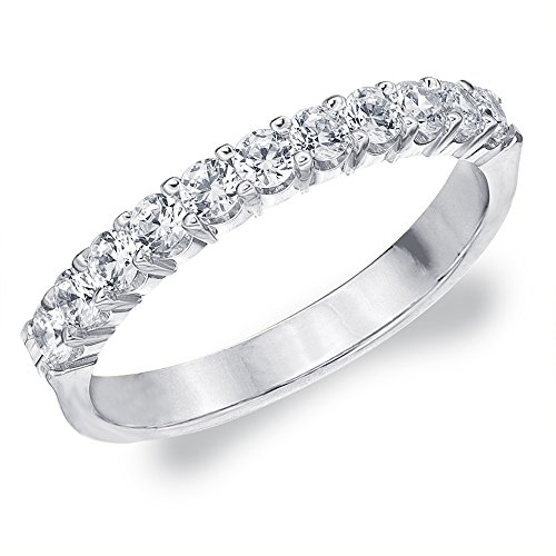 0.50 CT Diamond Ring in 10K White Gold, 1/2 cttw Diamond Wedding Band Anniversary Ring
