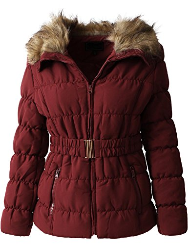 Hat and Beyond Womens Quilted Faux Fur Lined Belted Coat (X-Large/ gj1133_mulbery)