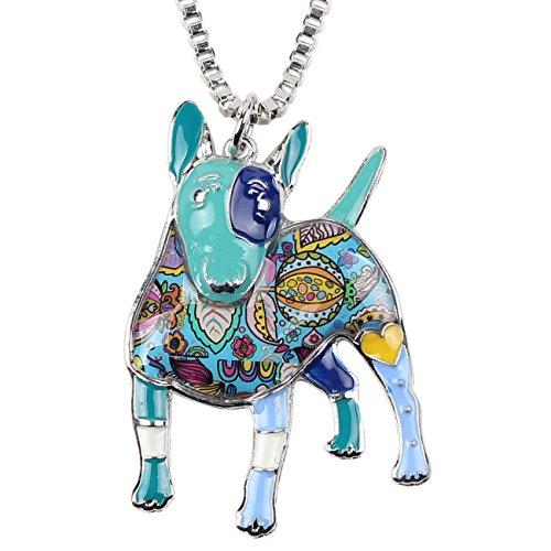 "BONSNY Collection ""Bowser"" Love Heart Enamel Alloy Pets English Bull Terrier Dog Necklace Animal Women Pendant 18"" … (Blue)"