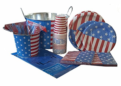 Disposable Dinnerware Set - Serves 16 - Patriotic American Flag Party Supplies - Includes Plastic Knives, Spoons, Forks,