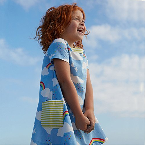 Little Girls Cotton Dress Short Sleeves Casual Summer Striped Printed Shirt by HILEELANG (Image #2)