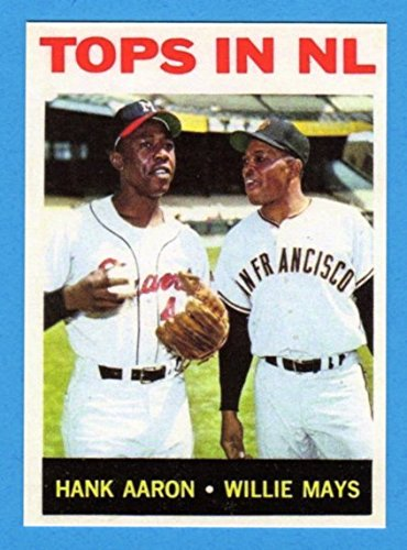 Hank Aaron and Willie Mays Tops in NL Best Baseball Reprint Card (1964)