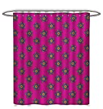 Hot Pink Polka Dot Shower Curtain Ethnic Shower Curtains Mildew Resistant Windmill Inspired Flowers Made with Leaves Cicles and Polka Dots Art Patterned Shower Curtain W60 x L72 Hot Pink Green and Blue