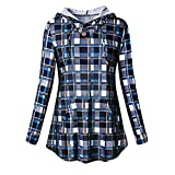 WOCACHI Final Clear Out Womens Plaid Hoodies with Pockets Pullover Long Sleeve Tops Sweatshirts Blouses Shirt Black Friday Cyber Monday Drawstring Winter Bottoming Shirts (Navy, Small)