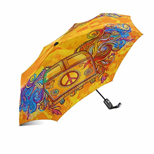 InterestPrint Hippie Vintage Car a Mini Van with Peace Sign00% Polyester Pongee Windproof Fabric Travel Umbrella, Compact Automatic Open and Close Folding UV and Rain Umbrella