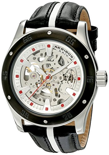Akribos XXIV Men's AK476BK Premier Skeleton Automatic Retro Leather Strap Watch