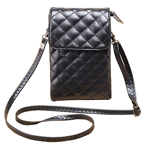 Katloo Women Girls PU Leather Quilted Small Crossbody Bag Travel Purse Phone Pouch (Quilted Leather Crossbody Bag compare prices)