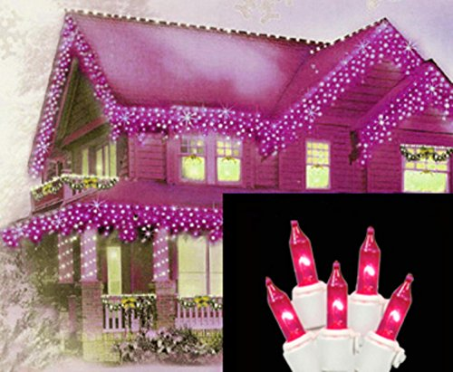 Vickerman 100 Lights Pink White Wire End Connecting Lock Set with 4-Inch Spacing and 33-Feet - 100 Mini Pink Lights