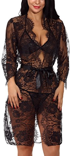 XYlove Women's Sexy Lace Long Robe Lingerie Set(4 Pieces)(Black-XXXL) (Teddy Lingerie Set)