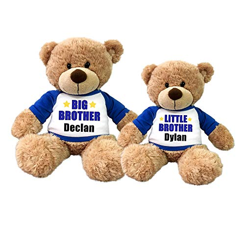 Personalized Big Brother and Little Brother Teddy Bears - Set of 2 Bonny Bears (Bear Little Teddy Brother)