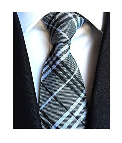 Gray White Black Self Ties Woven Narrow Party Cool Italy Necktie 3.15
