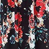 iLUGU Women's Casual Sleeve O-Neck Print Maxi