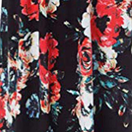 Estampado Redondo Alta Cintura Sólido Cóctel Maxi Las Color Falda Manga negro Informal Overdose A De Fiesta Simplicidad Corta Mujeres Boho Flores Cuello Vestido UzAqS