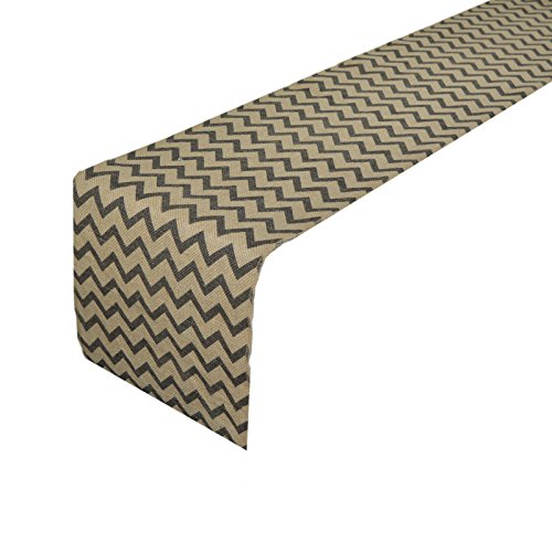 Metable Burlap Table Runners Zig Zag Pattern Natural