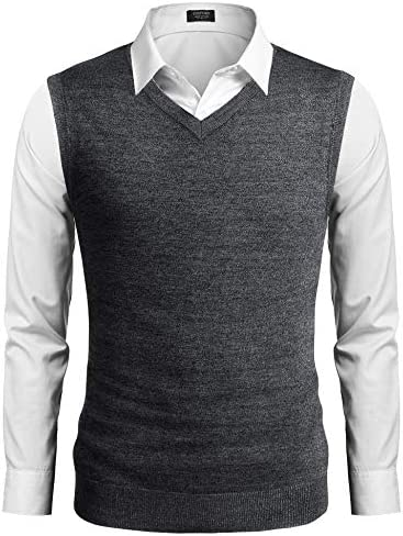 COOFANDY Mens Casual Sweater Vest Lightweight V-Neck Solid Knit Vest