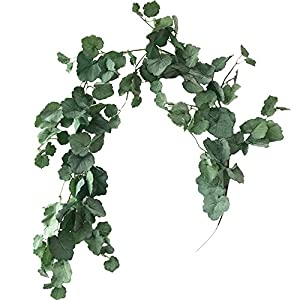 Aisamco 2 Pcs Artificial Hanging Begonia Leaves Vines Twigs Fake Silk Begonia Plants Leaves Garland String 5.7 Feet in Green for Indoor Outdoor Wedding Decor Greenery Wreath 1