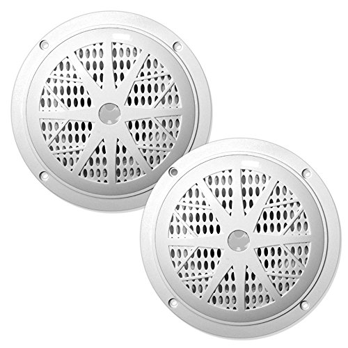 5'' Waterproof Marine Speakers, Full Range Stereo Sound, 120 Watt, White (Pair) (Pyle 6.5 Inch Full Range)