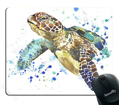 Smooffly Gaming Mouse Pad Custom,Sea Animal Lover Watercolor Brick Turtle Mouse Pad Personality Desings Gaming Mouse Pad