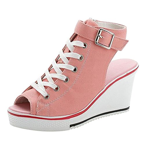 Sneakers Chaussures 35 Sandales Rose Lacets Femme Wealsex Chaussure Bout Taille Ouvert Toile Sport Casual Compensée Mode De Boucle 41 Baskets Grande vYYwqTf0