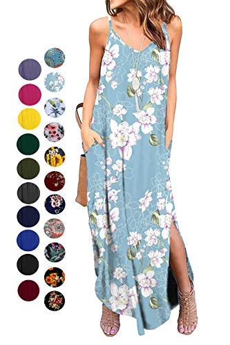 Kyerivs Women's Summer Dress Casual Loose Beach Cover Up Long Plain Print Cami Maxi Dresses with Pocket Purple Flower L (14-16)