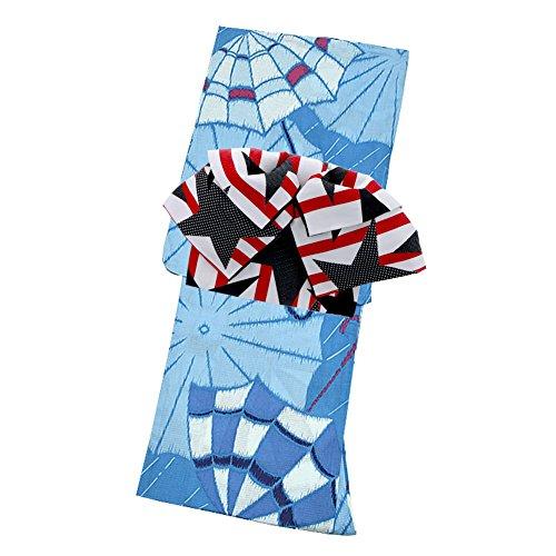 サーバオートマトンピストル[KIMONOMACHI] 作り帯 浴衣セット 「水色レトロ傘」 F