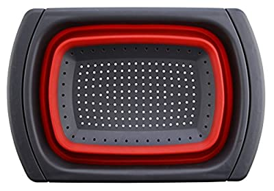 Collapsible Colander By Silicone Valley Kitchen : Over The Sink Strainer With Steady Base For Standing, BPA Free 6qt Capacity