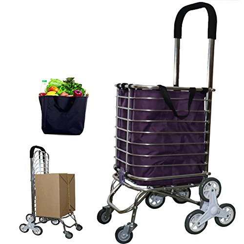 ff6b6a58a549 WE&ZHE 6-Wheel Folding Shopping Trolley Lightweight Stair Climbing Cart  with Removable Waterproof Bag for Laundry, Grocery and Market - Go Up and  Down ...